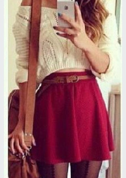 sweater jumper fall outfits skirt