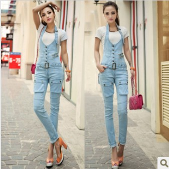Women Denim Jumpsuit pocket zipper design overall women jumpsuit ...