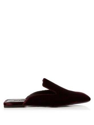 shoes velvet burgundy