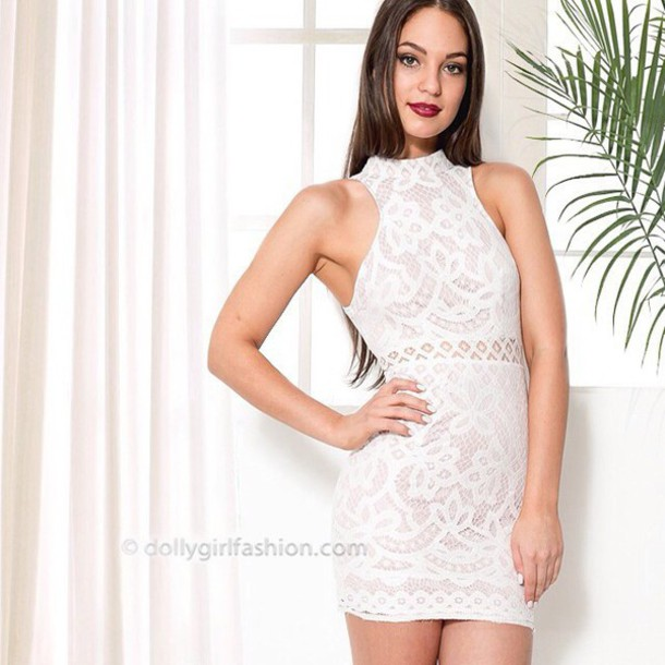 Dress: dolly girl fashion, lace dress, lace white dress, white ...