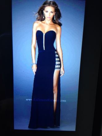 dress gown evening dress prom dress navy dress blue prom dress side split