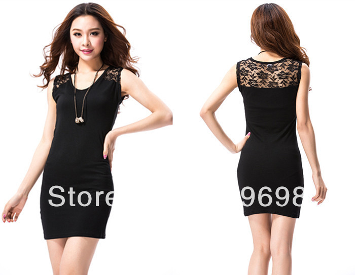 New 2014 summer women dress slim show thin lace splicing hollow out fashion sexy sleeveless vest dress black size S-XL | Amazing Shoes UK