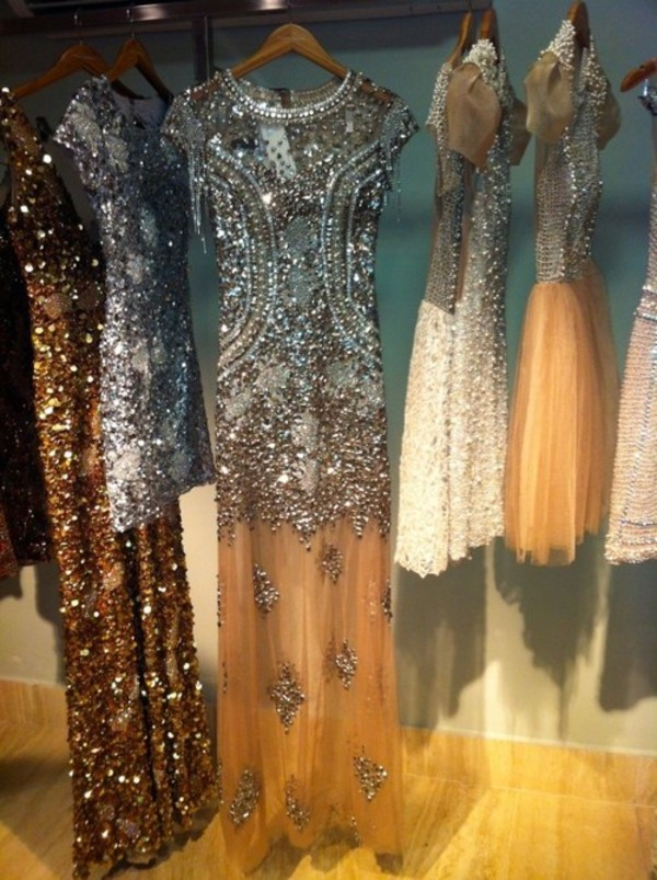 dress beaded crystal tulle skirt maxi dress pearl embellished dress sequins long short gold white beige cream brown nude silver sparkle prom gown clothes all dresses sequins elegant prom dress sequin dress formal dress luxury style silver dress silver sequin dress elegant dress party dress short dress fashion