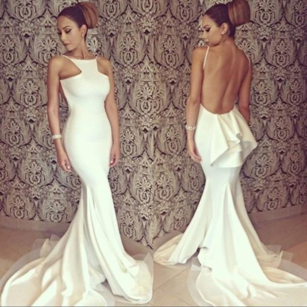 783ecc6a9a4 Sexy White Mermaid Evening Dresses Long 2016 New Designer Halter Sexy  Backless Tiered Unique Back Design ...
