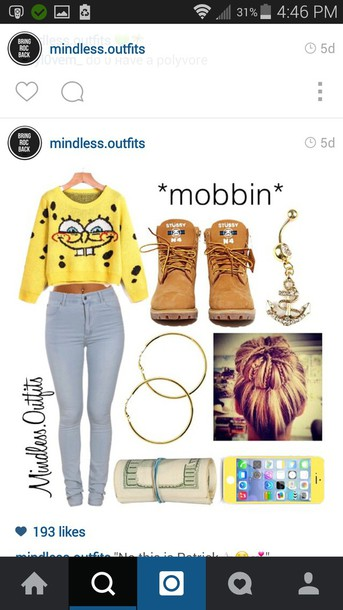 sweater spongebob cheap sweaters cool shirts cartoon fashion shoes jeans