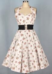 50s style,1950's,1950s dress,Pin up,floral dress,halter dress,vintage dress,swing dress,long dress,housewife dress,rockabilly dress,rockabilly style