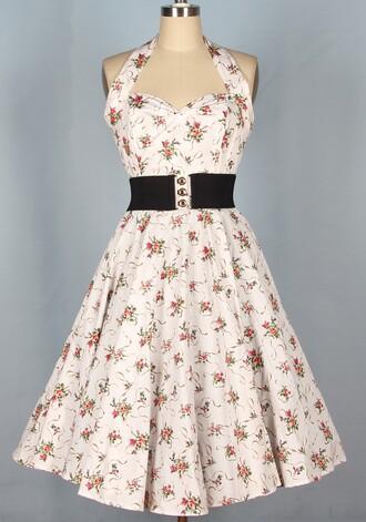 halter dress long dress 50s style vintage dress pin up rockabilly dress pinup 1950s swing dress 1950's 1950s dress floral dress housewife dress rockabilly style