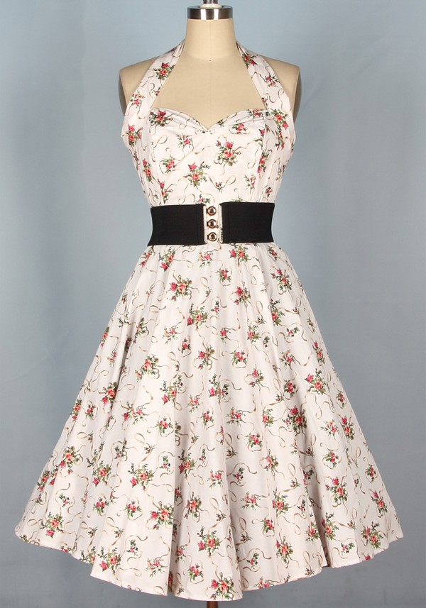 50s style 1950's 50s style 1950s dress Pin up Pin up floral dress halter dress vintage dress swing dress long dress housewife dress rockabilly dress rockabilly style