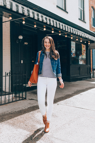 thecollegeprepster blogger jacket t-shirt jeans bag scarf shoes white pants denim jacket spring outfits striped top booties