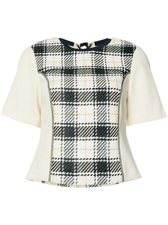 top knitted top plaid women cotton black