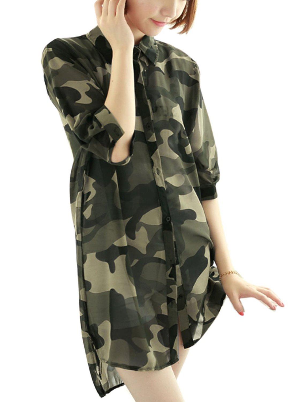 Lady elbow sleeves camo print chiffon tunic shirt army green xs at amazon women's clothing store: