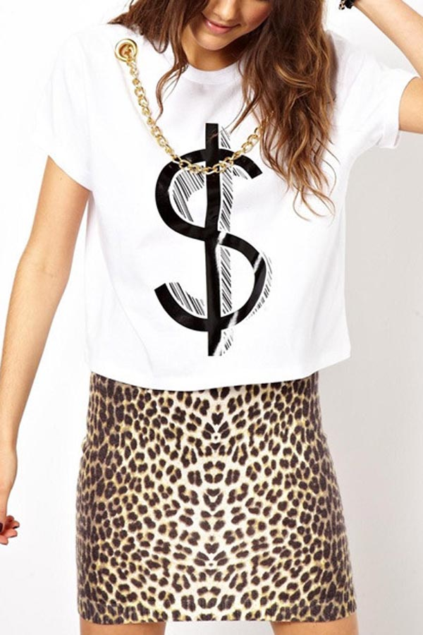 White Graphic Metal Chain Short Sleeve Tee @ T Shirts,Tee Shirts ...