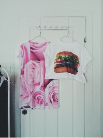 t-shirt flowers ebay hamburger printed t-shirt roses
