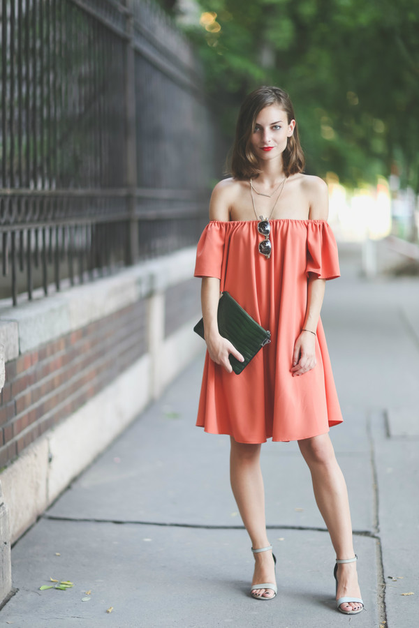 Coral Dress And Shoes