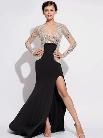 dress classy elegant black fashion sparkle silver style maxi slit dress long sleeves dressofgirl