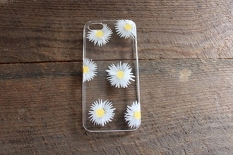 daisy iphone case iphone 5 case iphone 4 case transparent plastic technology bag shoes sunglasses phone cover iphone cover flowers hipster iphone fashion yellow cute jewels