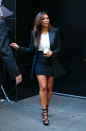 coat,black,shoes,jacket,kim kardashian,shirt,blazer,blue and white