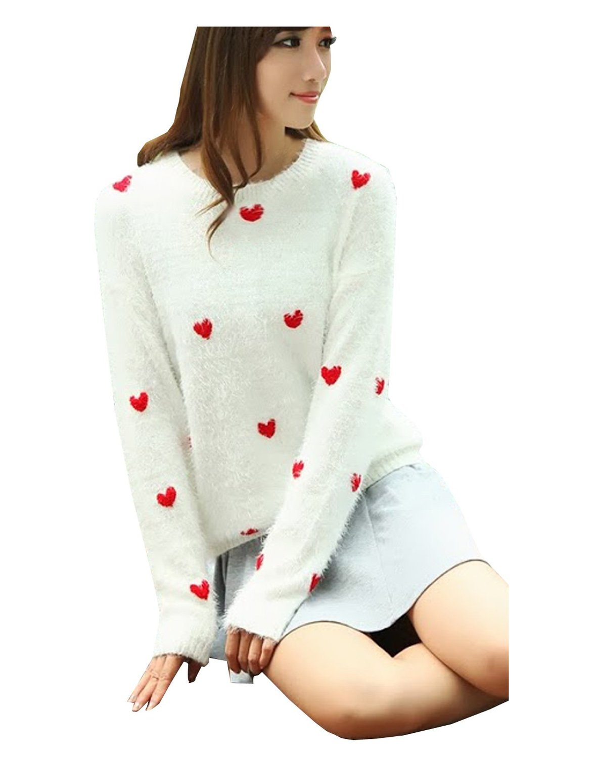 Ca fashion women's long sleeve sweater jumper knitwear (white) at amazon women's clothing store: pullover sweaters