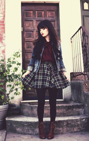 skirt cute plaid plaid skirt shoes blouse jag lever jacket