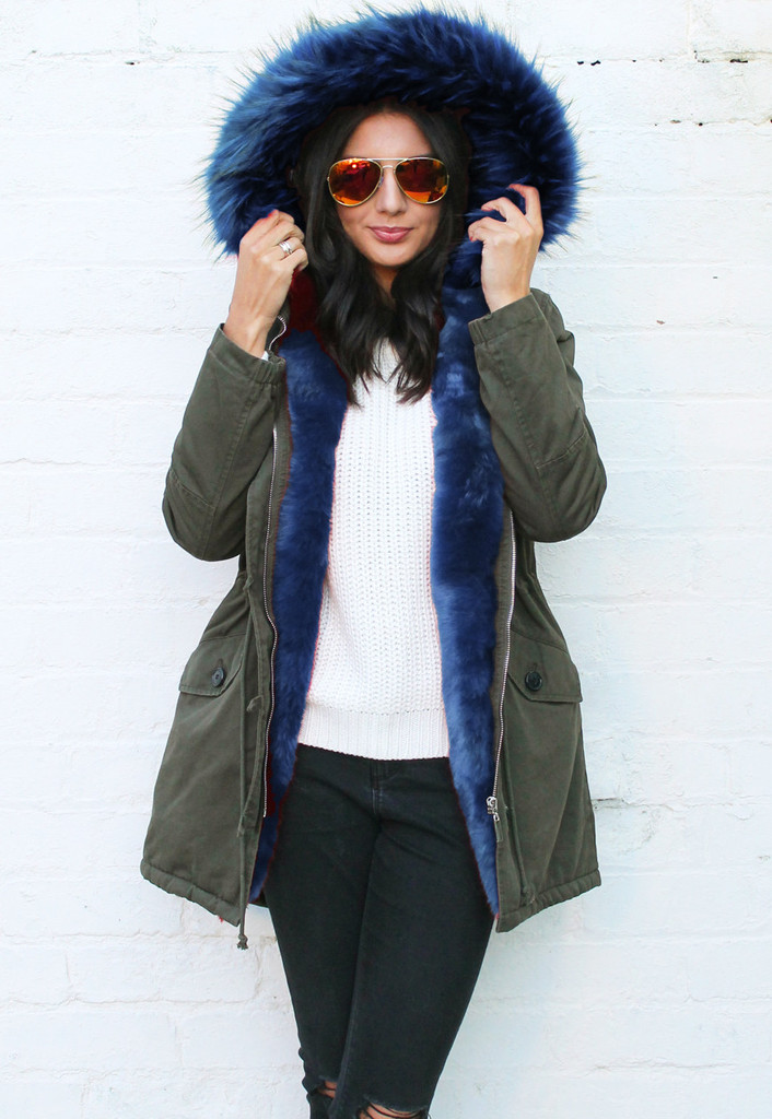 Full Faux Fur Trim Parka in Khaki Green with Blue
