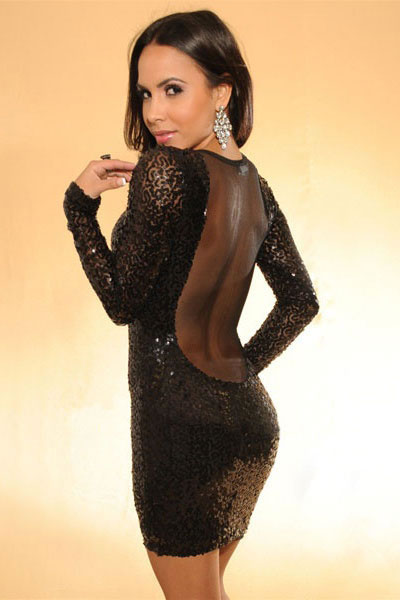 Stylish sequins backless mini dress