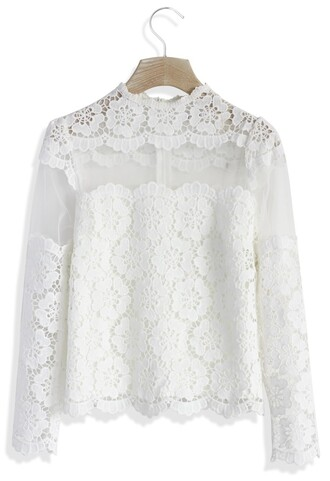 white lace top top chicwish sunflower crochet