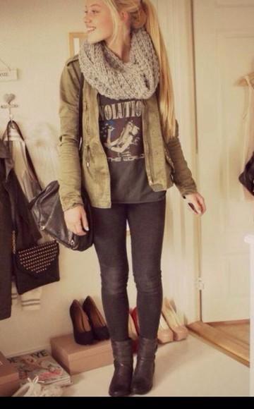 jacket army green scarf gray cute