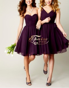 2013 Latest Chiffon Purple Ruffle Short Maid of Honor Dress (XL39) - China Bridesmaid Dress, Bridesmaid Gown