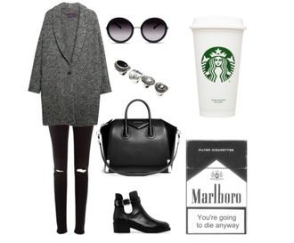 black jeans sunglasses grey coat cut out ankle boots ring