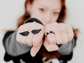 jewels,bague,wings,black,ring,korean style