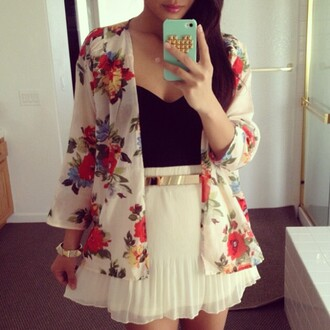 jacket white floral jewels dress cardigan lovely vintage retro skirt belt blue skirt