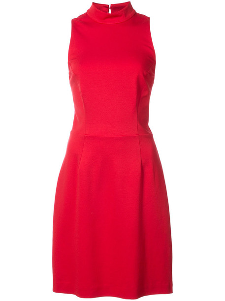 dress back women spandex red