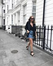 skirt,tumblr,mini skirt,embellished,denim,denim skirt,sandals,sandal heels,high heel sandals,top,black top,camisole,black blazer,blazer,jacket,shoes