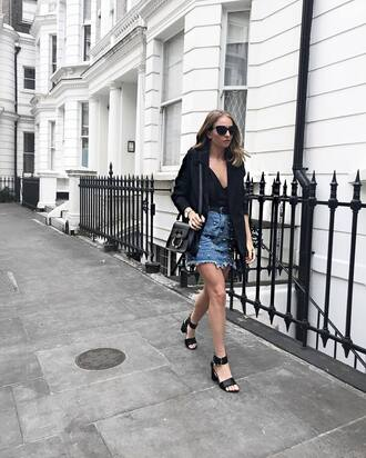 skirt tumblr mini skirt embellished denim denim skirt sandals sandal heels high heel sandals top black top camisole black blazer blazer jacket shoes