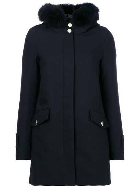 Herno jacket puffer jacket fur fox women cotton black wool