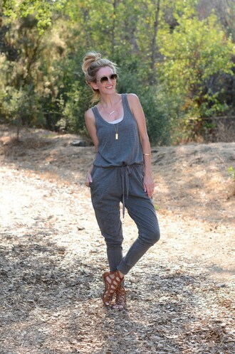 the stylish housewife blogger jumpsuit jewels bag sunglasses