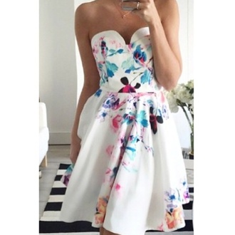 dress white flowers strapless colorful