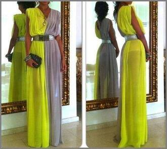 dress yellow grey maxi maxi dress yellow maxi dress long two colours yellow dress soft grunge grey and yellow