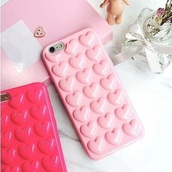 phone cover,pink,pink phone case,iphone 6 case,pink case,pastel phone case,heart case,iphone 6 cover