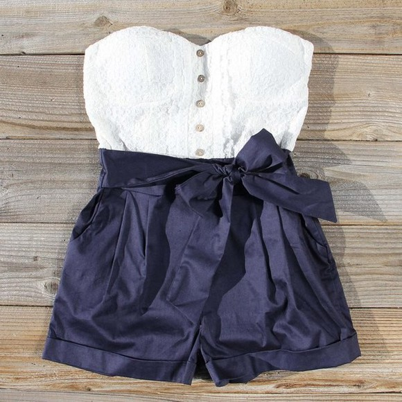 shirt romper white blue shorts shorts pants summer blouse white dress white crop top high waisted blue shorts navy dress tank top navy blue navyromper, romper, road trip, whitetop high waisted short white shirt, exact outfit