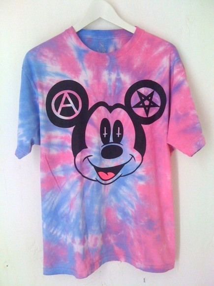 tie dye pink purple t-shirt mickey mouse black hippie