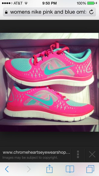 shoes pink nike teal