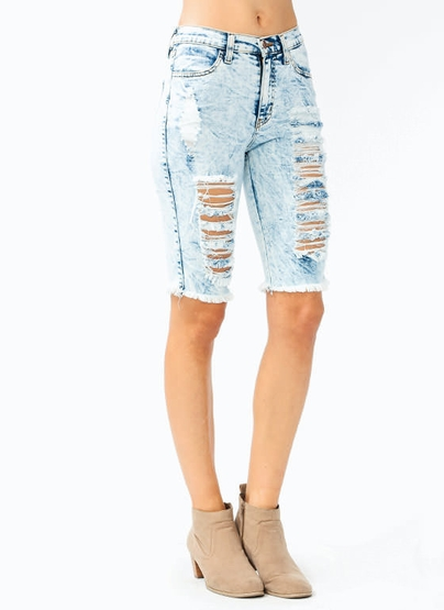 Destroyed Capri Jeans $48.50 in LTBLUE - Denim Rehab | GoJane.com