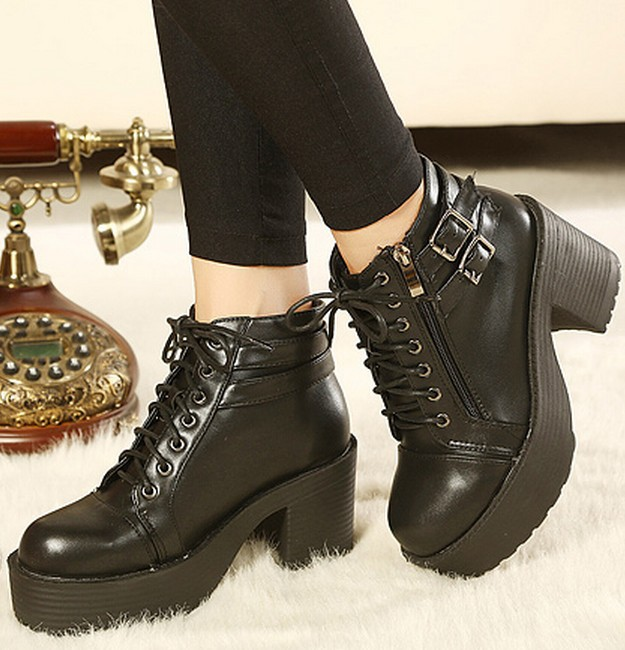 platform boots for women shoes woman new 2013 buckle fashion black pumps punk lace up motorcycle ankle martin booties SXX36172-in Boots from Shoes on Aliexpress.com