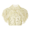 Pale yellow pearl embellished cropped ruffle blouse | moda operandi
