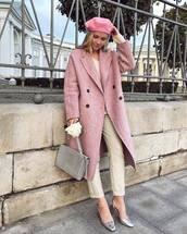 coat,wool coat,long coat,pink coat,blouse,pants,cropped pants,pumps,mid heel pumps,beret,handbag