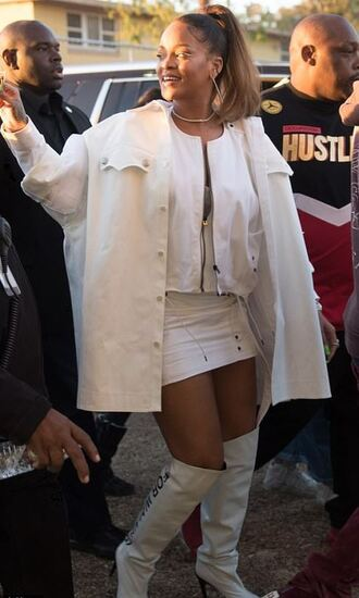 shoes boots white skirt mini skirt rihanna jacket