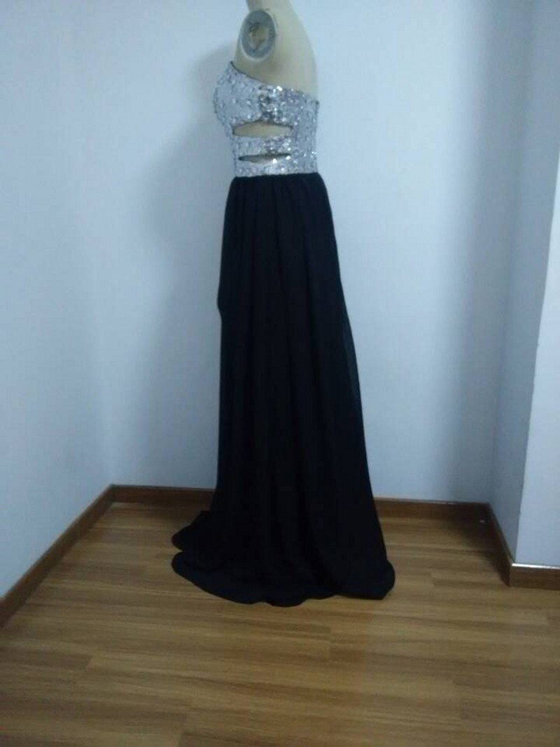 new 2015 sexy long black lace sparkly prom dresses formal party ...