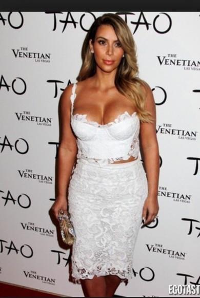 white dress two-piece kim kardashian lace dress