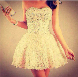 dress clothes beautiful summer prom pretty pearl girls model in love prom dress lace dress white white dress sparkly formal dress shiny sparkling dress gold golden patten wanted special